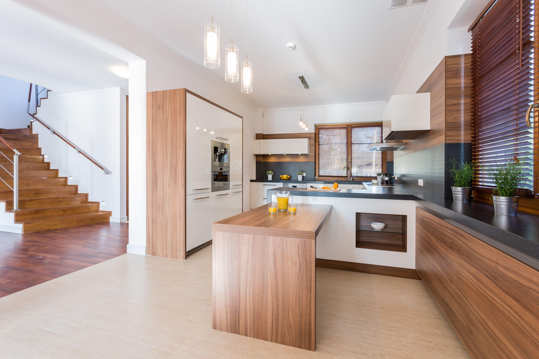 cocina minimalistica rustica madera espacio abierto